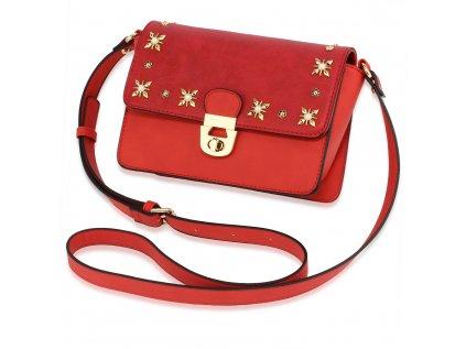 Elegantní crossbody vínová červená kabelka se zlatou aplikací Anna Grace