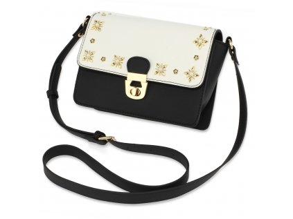 Elegantní crossbody černo bílá kabelka se zlatou aplikací Anna Grace