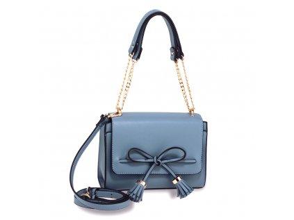 modrá kabelka Anna Grace mašle se střapcem řetízkový popruh