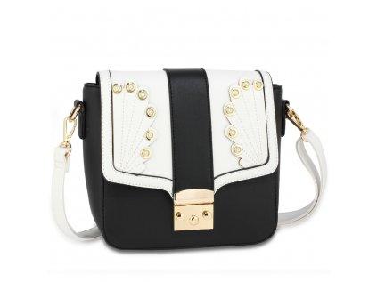luxusní kabelka černá bílá Anna Grace zlaté kovové aplikace nastavitelný popruh