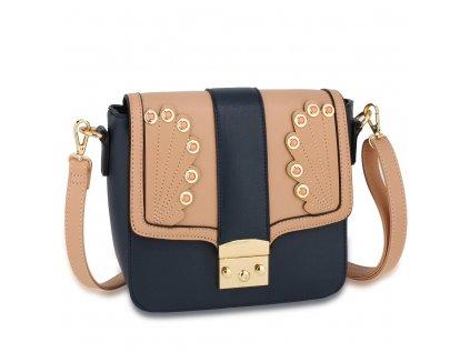 luxusní kabelka tmavě modrá navy tělově růžová Anna Grace zlaté kovové aplikace nastavitelný popruh