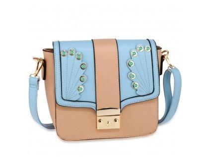 luxusní kabelka modrá růžová Anna Grace zlaté kovové aplikace nastavitelný popruh