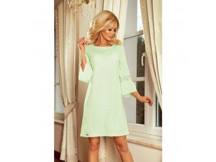 Numoco dámské šaty s decentní krajkou 190-9 zelenkavé pistáciové