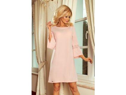 Numoco společenské šaty s krajkou MM-114333 růžová