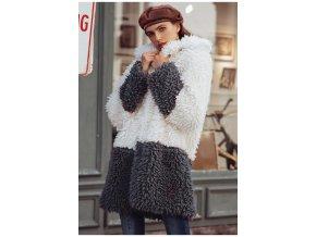Simplee kožich kabát imitace kožešiny bílo šedý S18OW0358