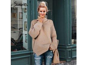 Simplee pletený khaki svetr pulovr s rolákem S18ST0369