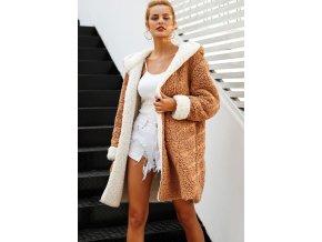 Simplee hebký kožich kabát s kapucí bílo hnědý oboustranný P18OW0333
