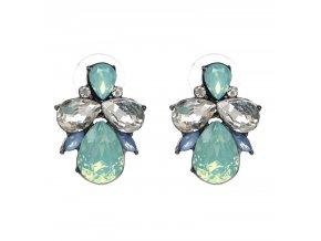 Royal Fashion náušnice Drop peckové zeleno modré