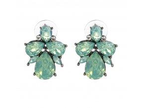 Royal Fashion náušnice Drop peckové světle zelené