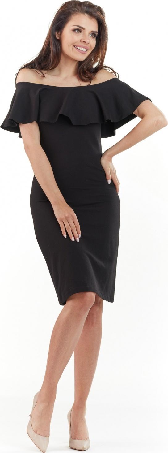 awama společenské šaty MM-117527 černá Velikost: 40