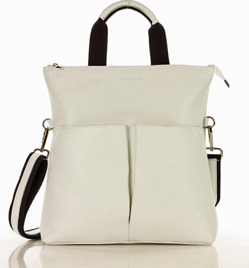 Mazzini kožená kabelka MM-129310 bílá Velikost: Univerzální