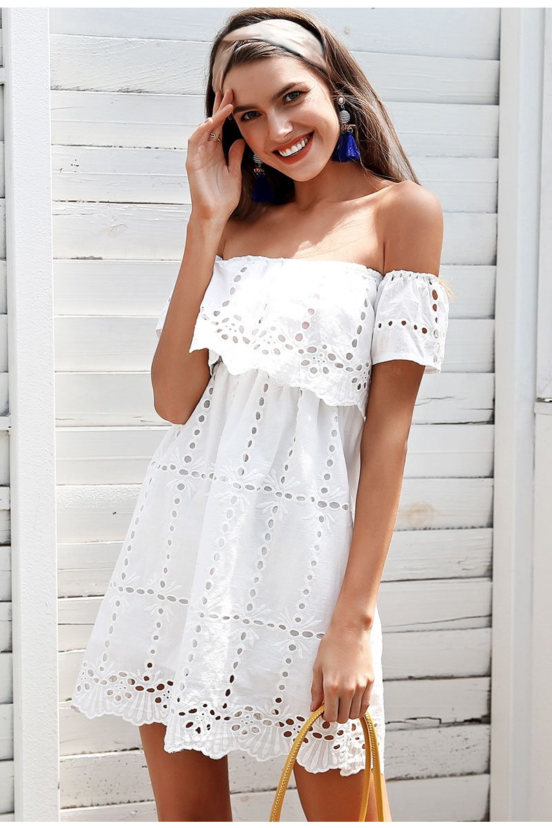 a4d908a31b7 Simplee krajkové bílé šaty krátké s odhalenými rameny S18DR0130 WHITE  Velikost  M
