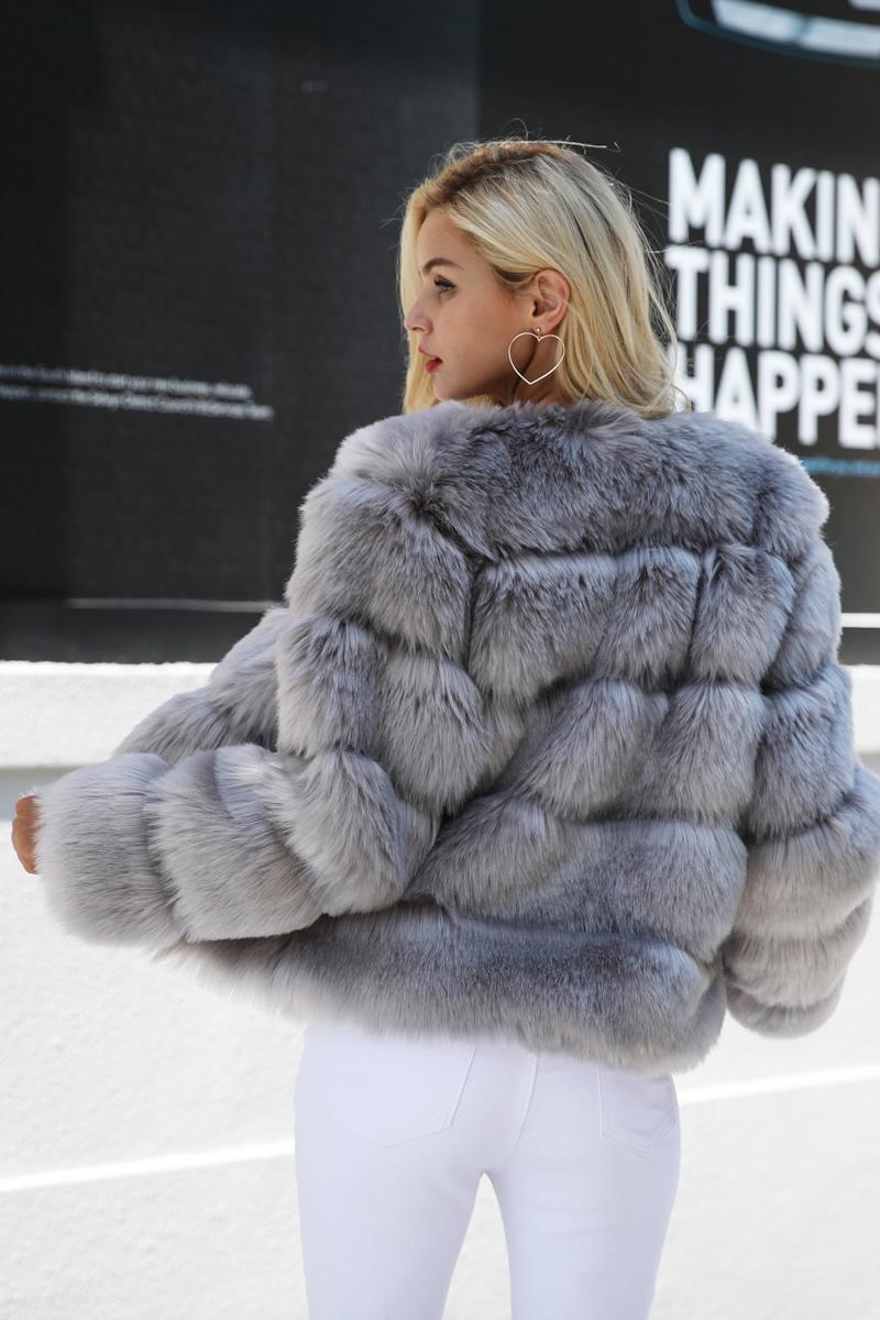 9084569dd29 Simplee Chlupatý kožich kabát imitace kožešiny šedý OW438 GREY Velikost  L