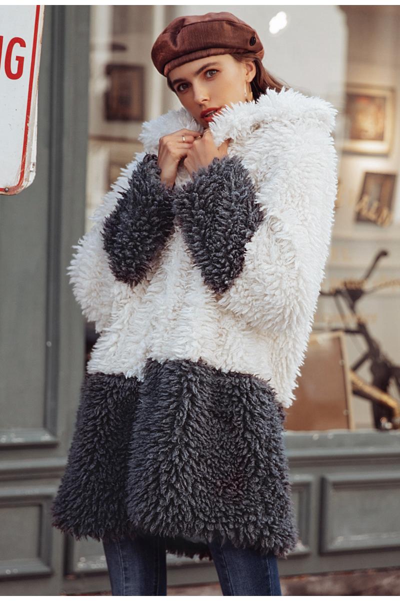 efdffcd48d1 Simplee kožich kabát imitace kožešiny bílo šedý S18OW0358 Velikost  XXXL