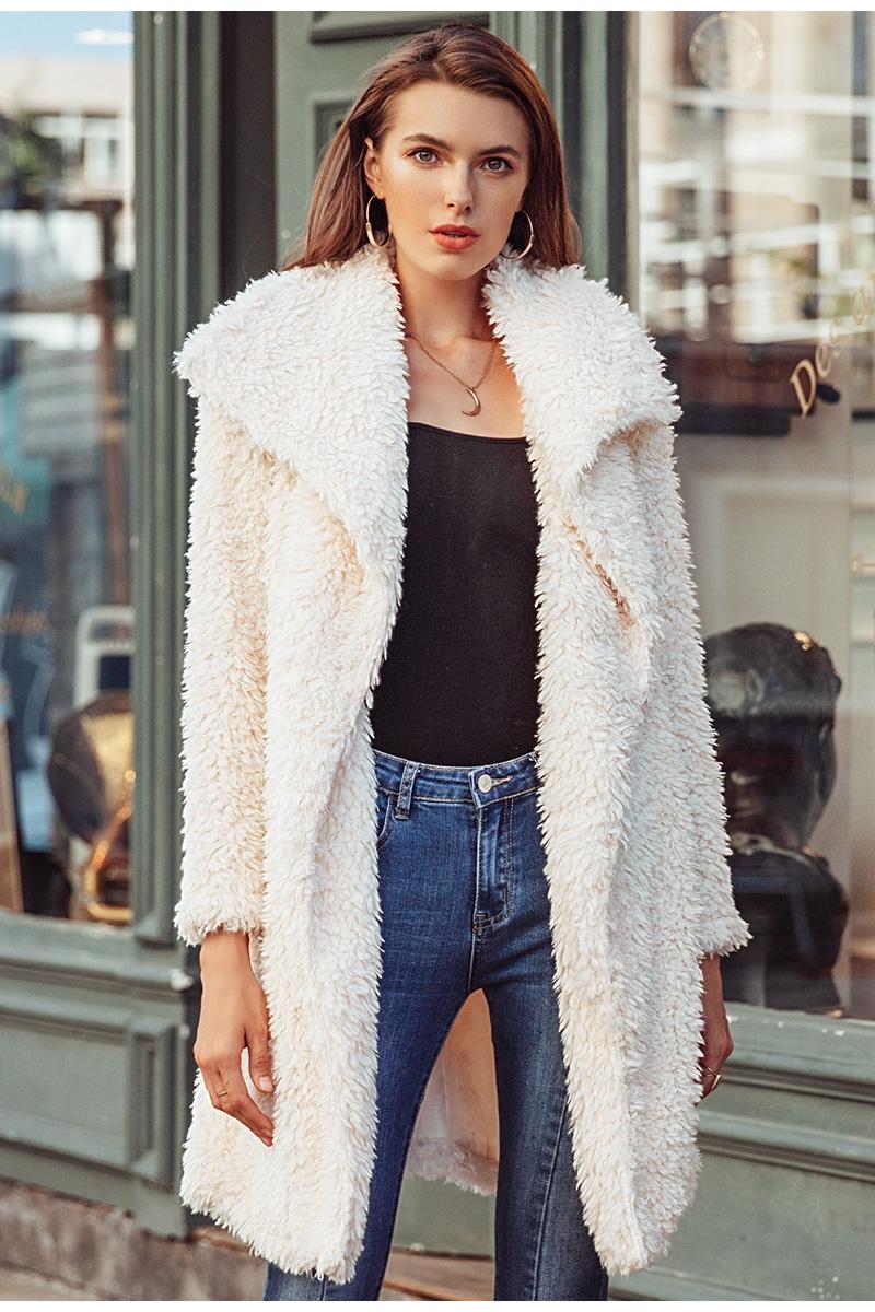 e040d1bfd16 Simplee kožich kabát imitace kožešiny béžový S18OW0042 Velikost  L