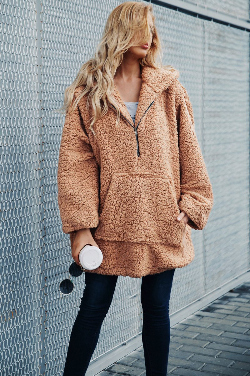 Simplee kožich kabát imitace jehněčí kožešiny světle hnědý P18OW0389 Velikost: S