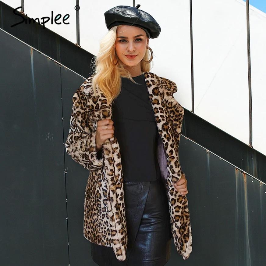 6040ff9938b1 Simplee leopardí kabát kožich imitace kožešiny hnědý S18OW0418 Velikost  M