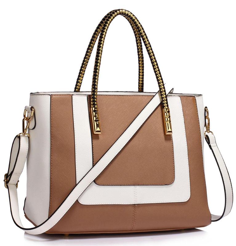 LS Fashion Moderní kabelka LS00318_NUDEWHITE