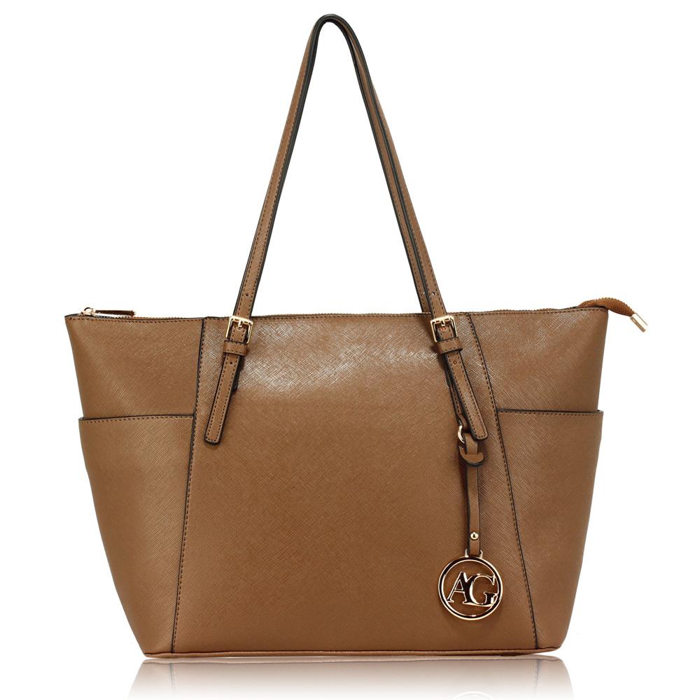 LS Fashion Elegantní kabelka AG00350_TAUPE