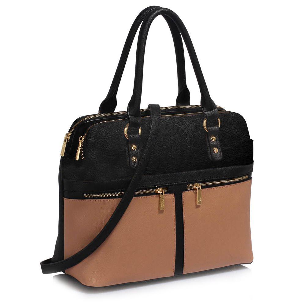 LS Fashion Moderní kabelka LS00250A_BLACKNUDE