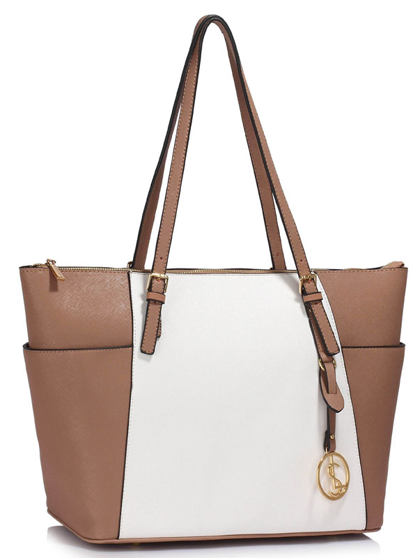 LS Fashion Elegantní kabelka LS00350_NUDE/WHITE