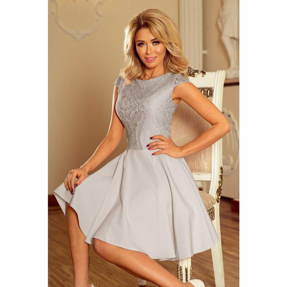 51ef9c2603b7 Numoco dámské šaty s krajkou 157-6 šedé Velikost  M