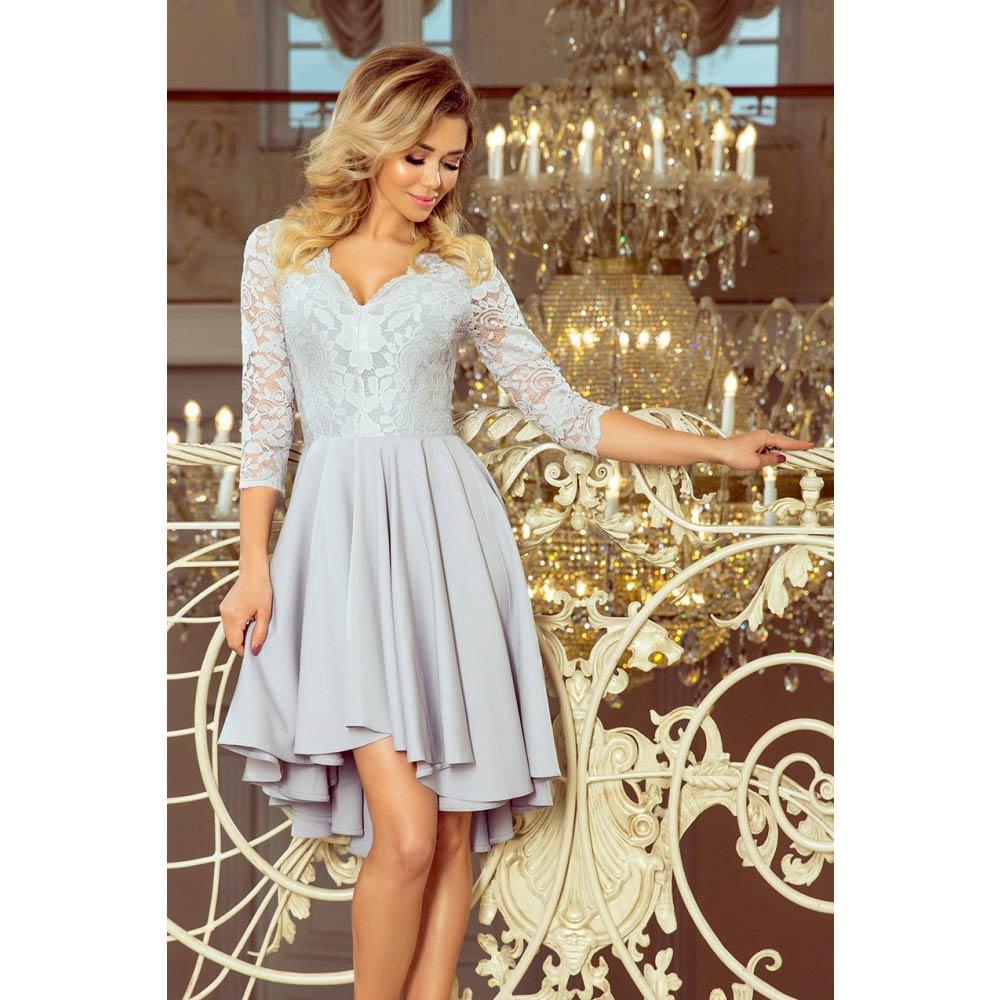 c7c1effc78a0 Numoco dámské šaty s krajkou 210-9 šedé Velikost  M