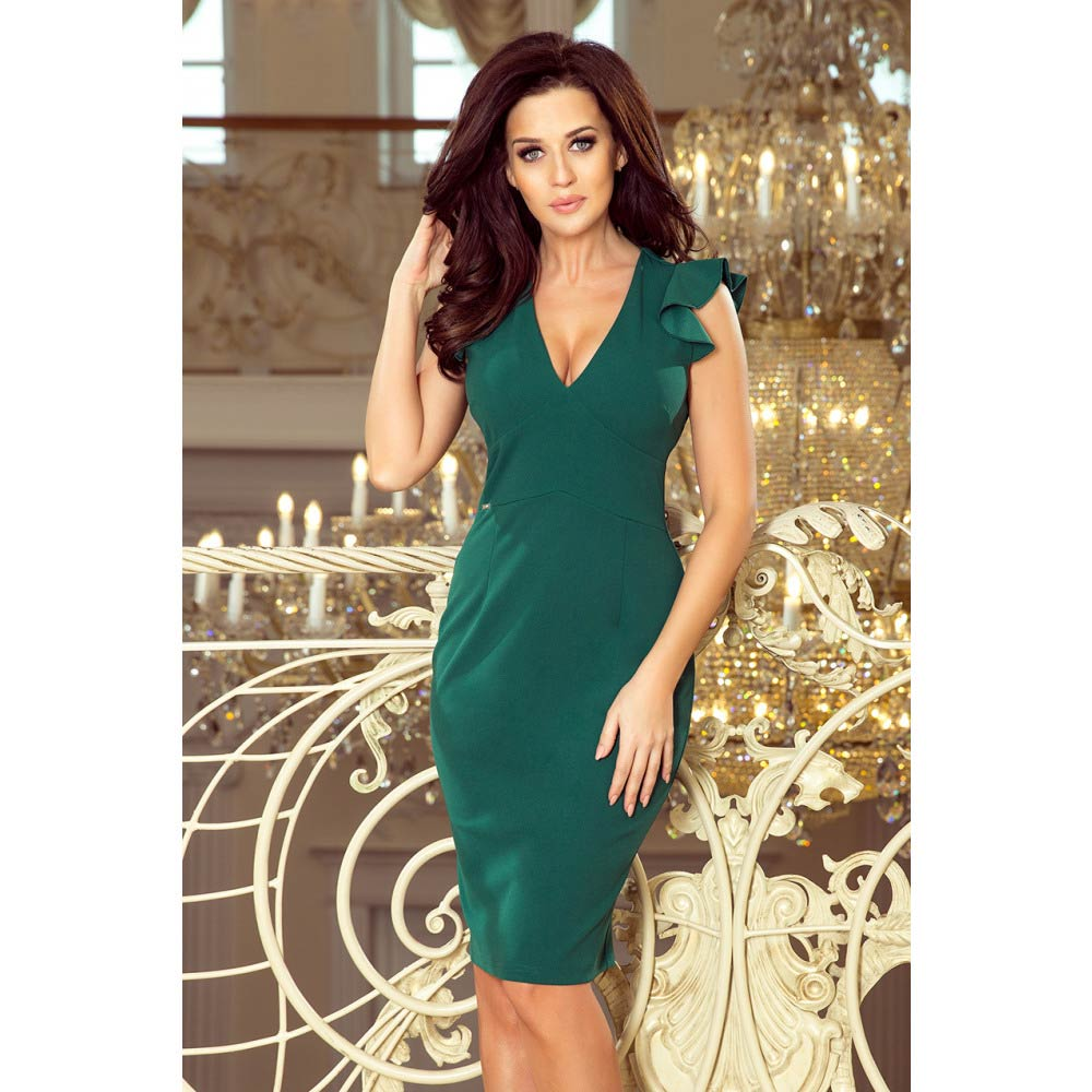 4ad08a04ee23 Numoco dámské pouzdrové šaty 227-1 zelené Velikost  M