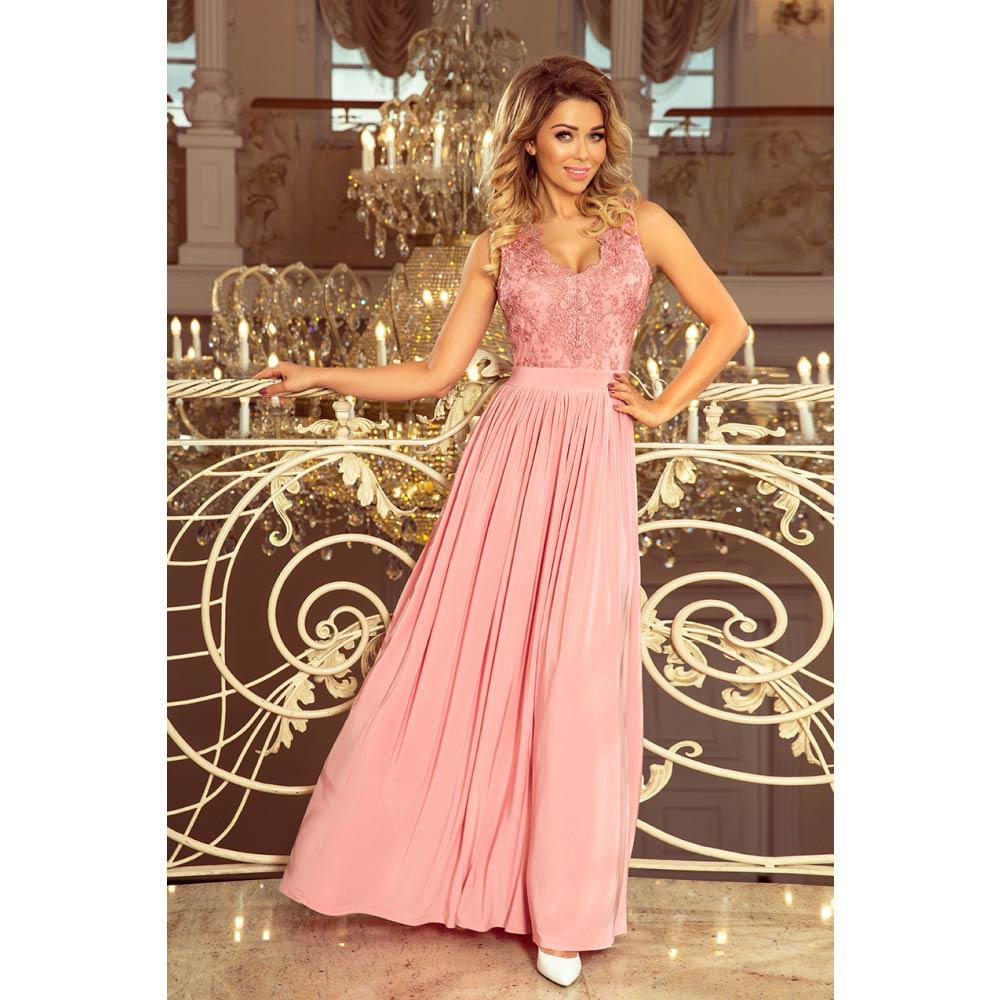 53442ba7be14 Numoco dámské dlouhé šaty s krajkou 215-3 růžové Velikost  S