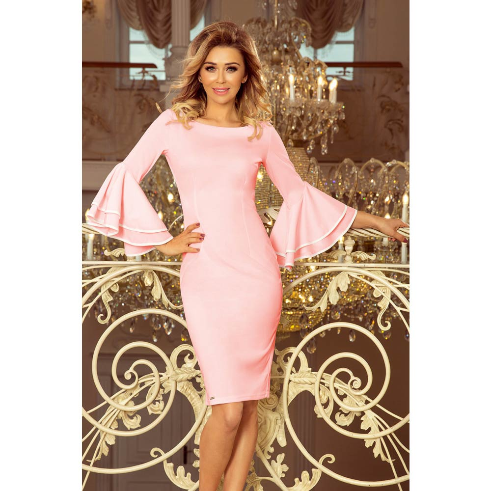 b36ef8977024 Numoco dámské pouzdrové šaty s volány 188-4 růžové Velikost  S