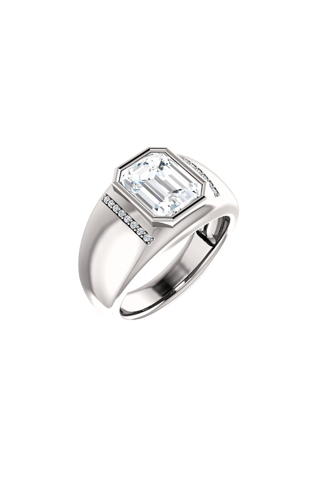 Pánský prsten s Moissanitem a diamanty