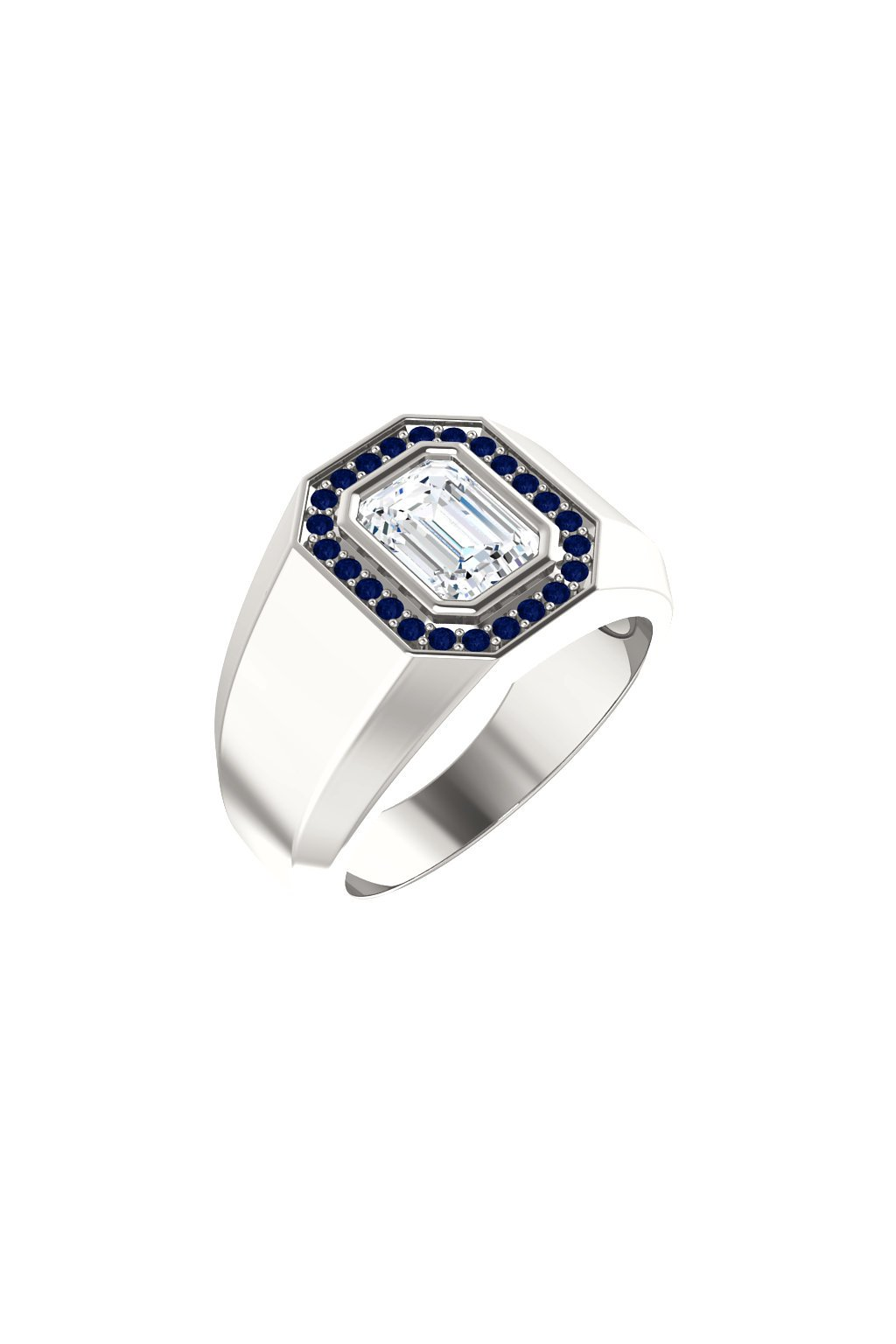 Pánský prsten s Moissanitem a safíry
