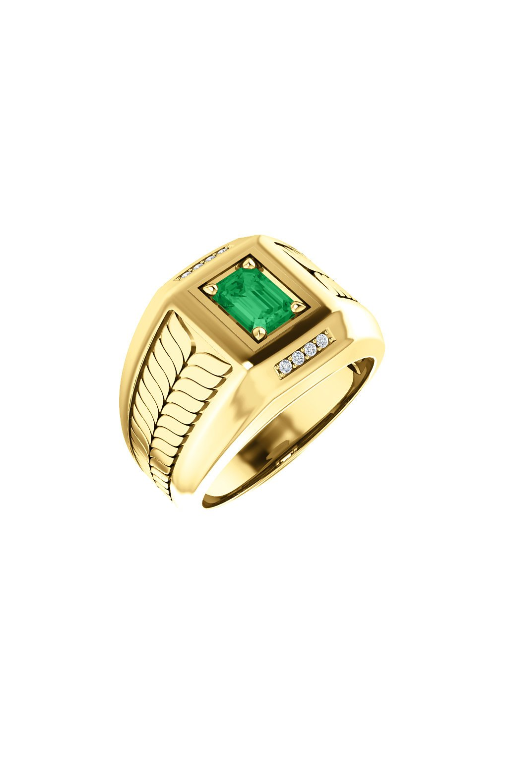 Pánský prsten se Smaragdem a diamanty