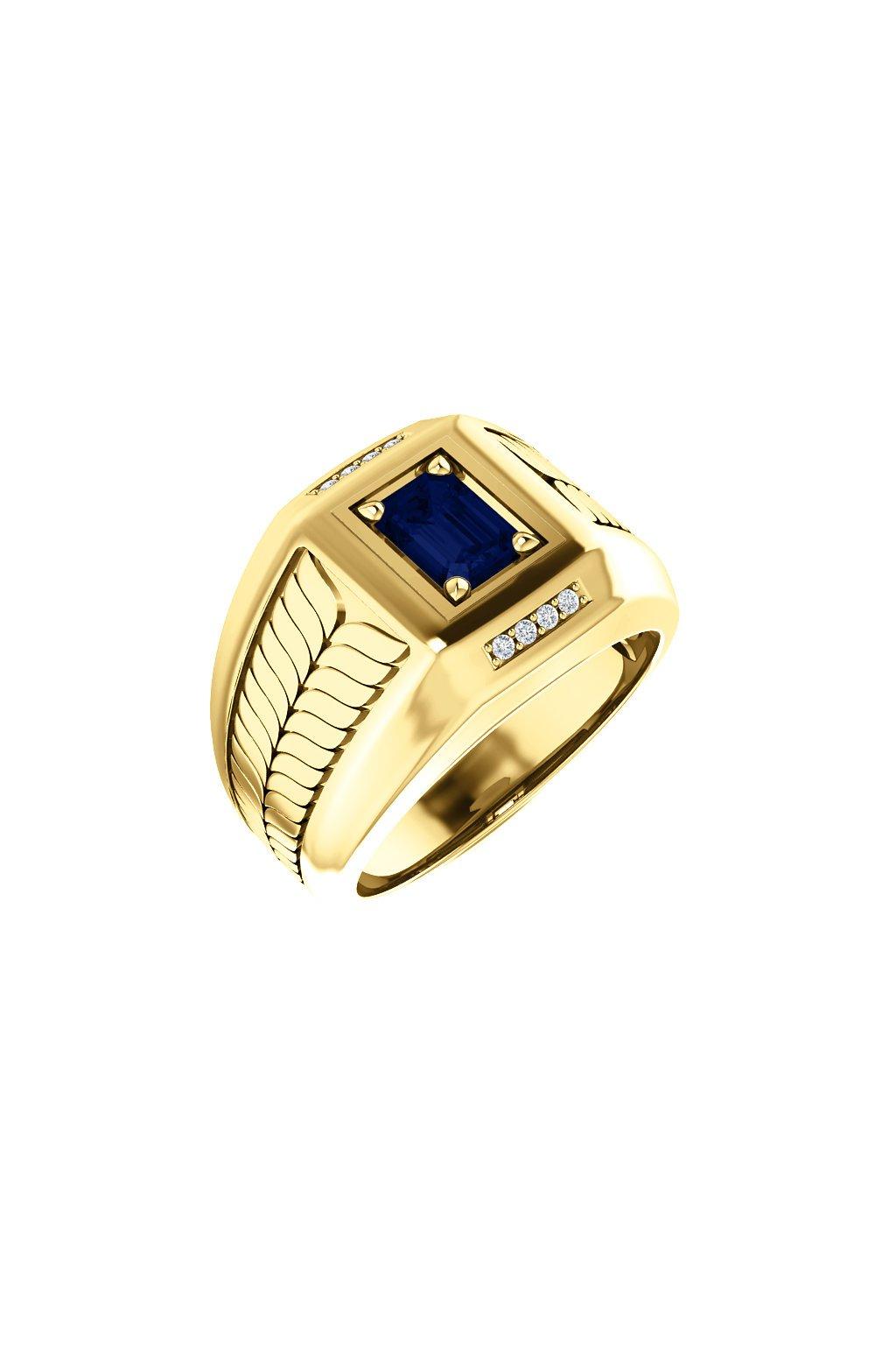 Pánský prsten se Safírem a diamanty