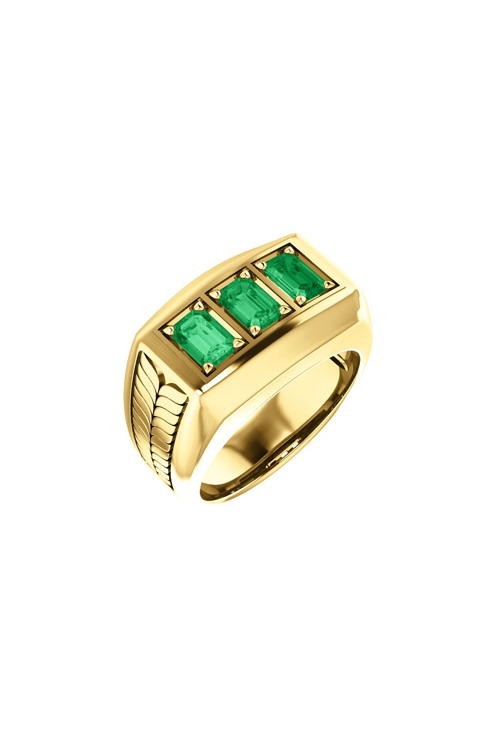 Pánský prsten se smaragdy