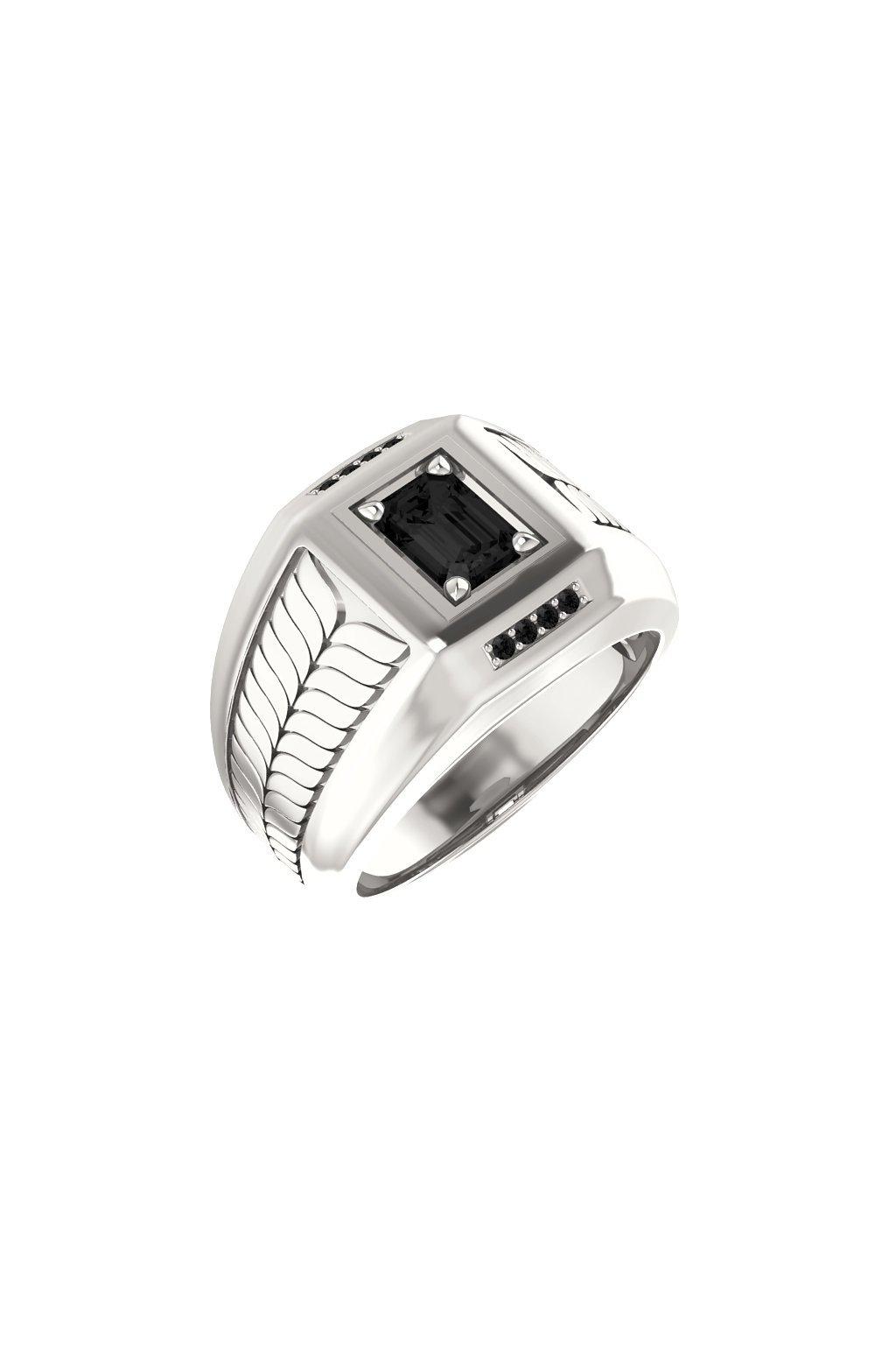 Pánský prsten s Onyxem a černými diamanty