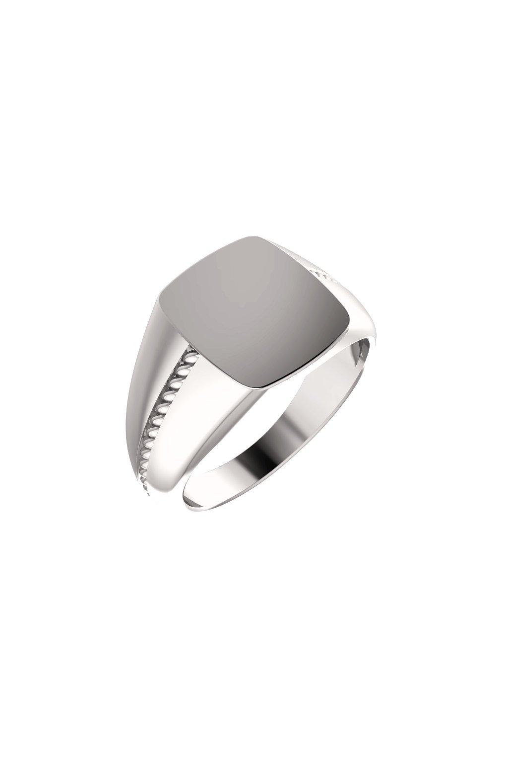 Pánský platinový pečetní prsten