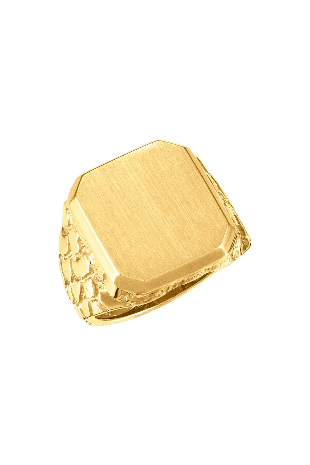 Pánský zlatý pečetní prsten Royalis SIGNET NUGGET