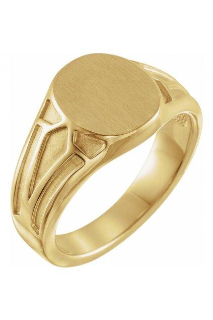 Pánský zlatý pečetní prsten GEOMETRIC