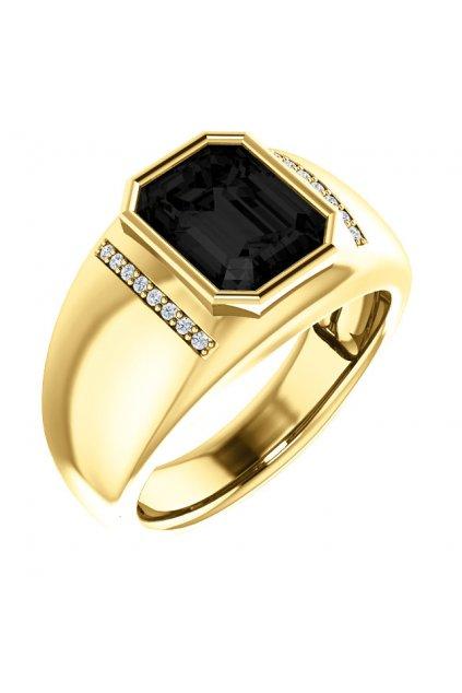 Pánský prsten s Onyxem a diamanty