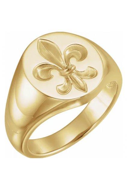 Pánský zlatý pečetní prsten Royalis Fleur de lis