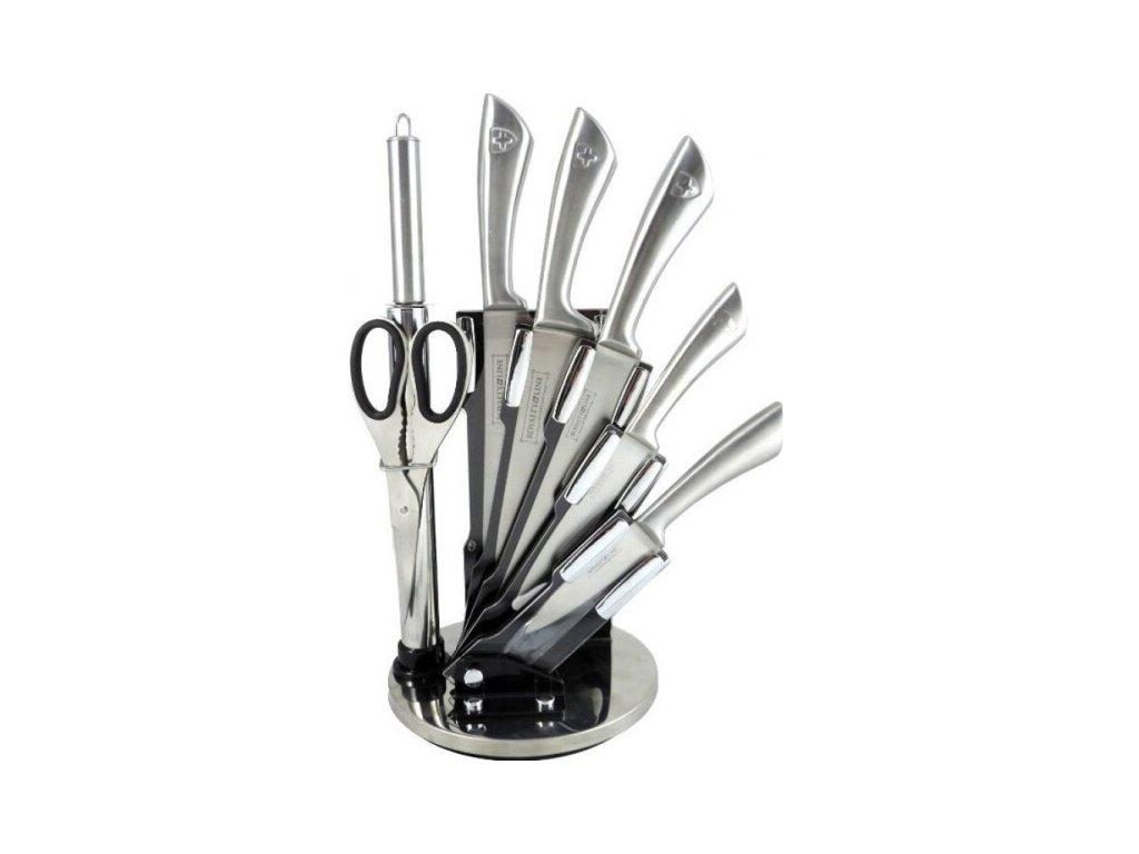 8-dílná sada ocelových nožů, nůžek a ocílky RL-KSS812 - šedá | ocelové nože, nůžky a ocílka