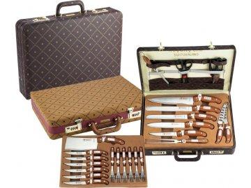 25dílná sada příborů a nožů v koženém kufříku Royalty Line RL-CK25LB / ROZBALENO