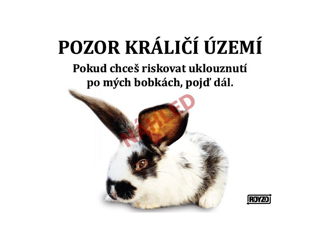 Výstražná vtipná samolepící cedule pozor králík - Králík domácí strakatý