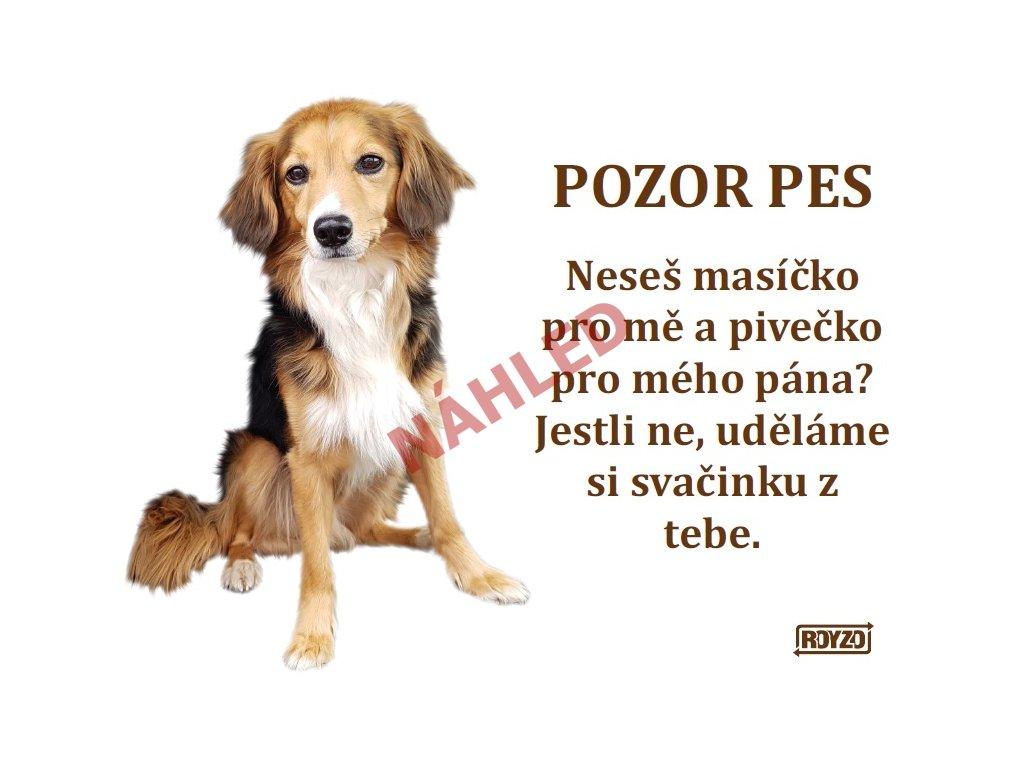 Výstražná vtipná samolepící cedule pozor pes - psí plemeno Kříženec 1