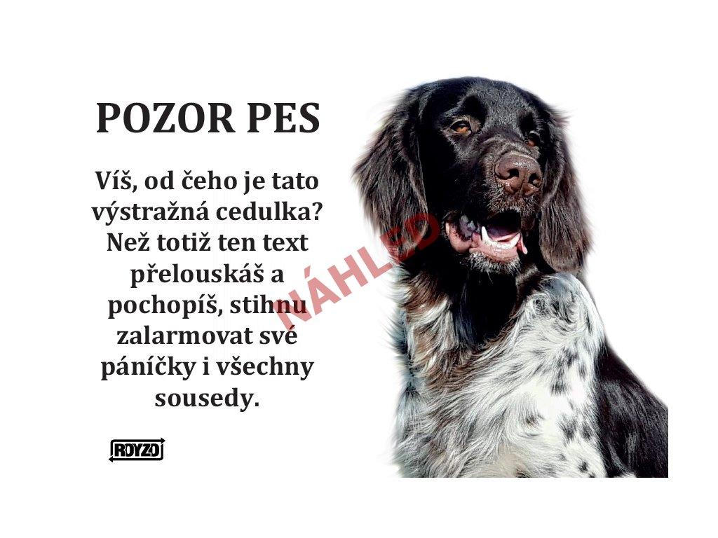 Výstražná vtipná samolepící cedule pozor pes - psí plemeno Německý dlouhosrstý ohař