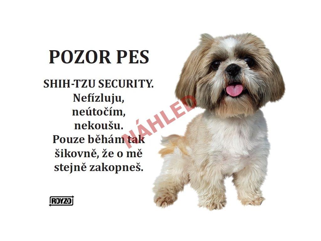 Výstražná vtipná samolepící cedule pozor pes - psí plemeno Shih-Tzu