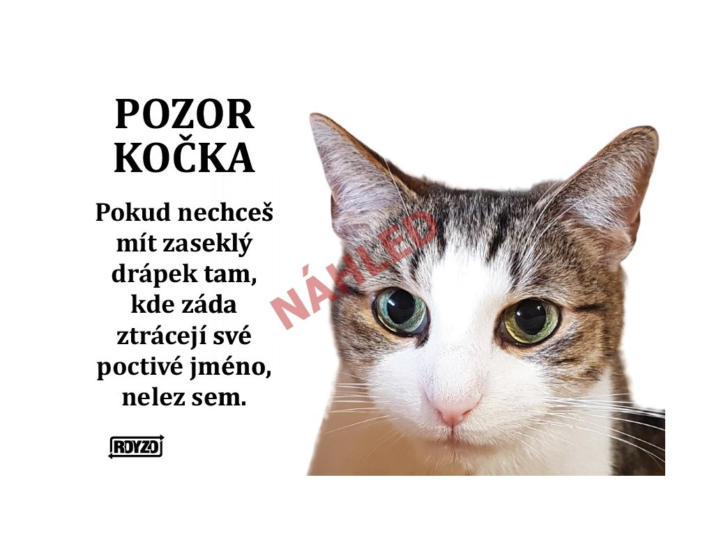 Výstražná vtipná samolepící cedule pozor kočka - Kočka domácí