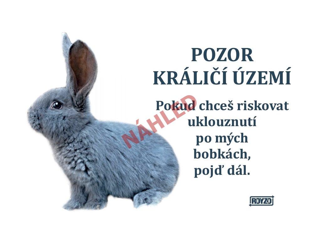 Výstražná vtipná samolepící cedule pozor králík - Králík domácí šedivý