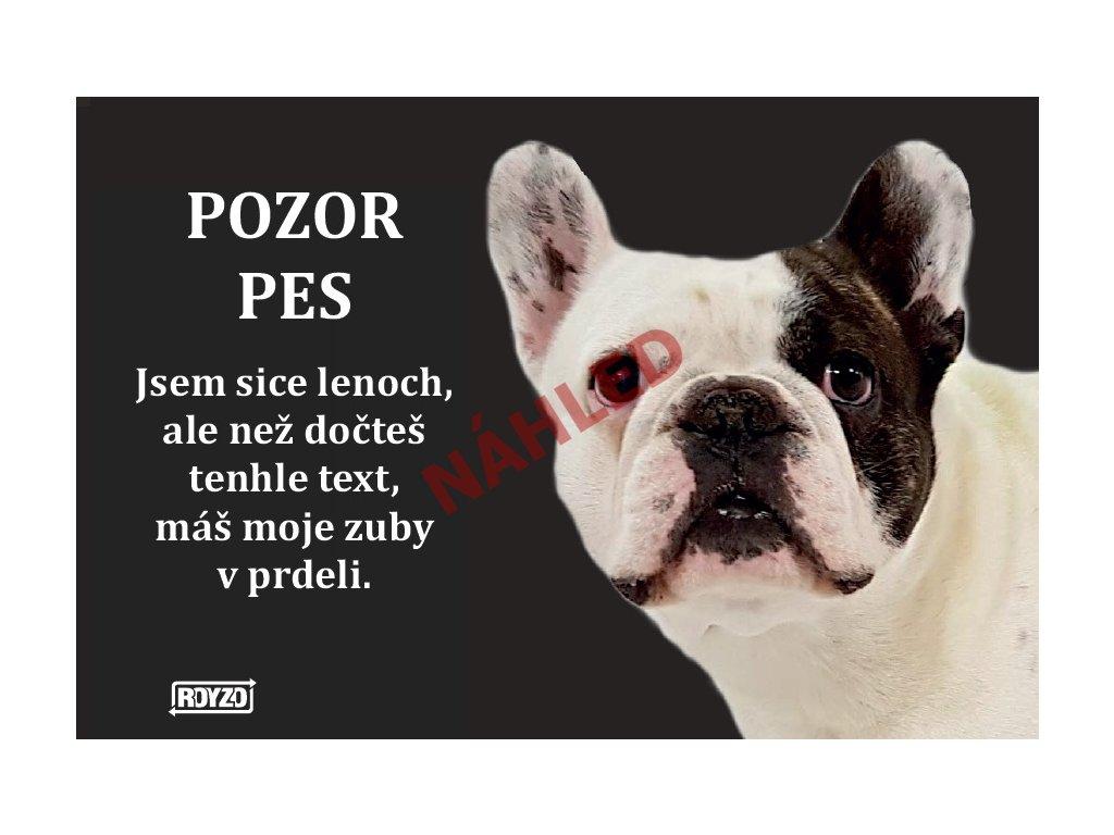 Výstražná vtipná samolepící cedule pozor pes - psí plemeno Francouzský buldoček bílý